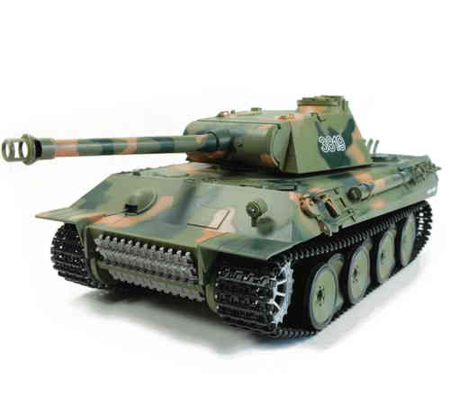 "RC Panzer ""Panther"" 1:16 Heng Long, Metallgetriebe, Rauch, Sound, Schussfunktion, 2,4 Ghz"
