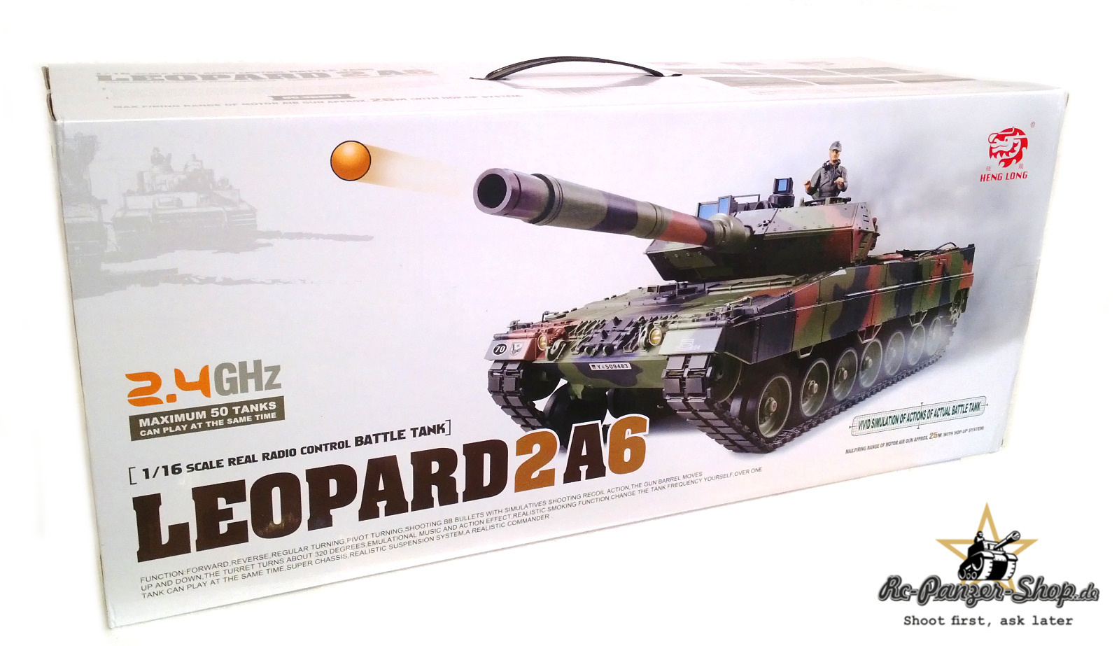 Leopard 2A6 RC Tank Heng Long 1:16 smoke, metal gear, 2,4Ghz