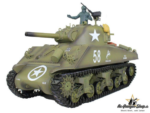 RC Panzer U.S.M4A3 Sherman 1:16 Rauch, Sound, Schussfunktion, 2,4Ghz