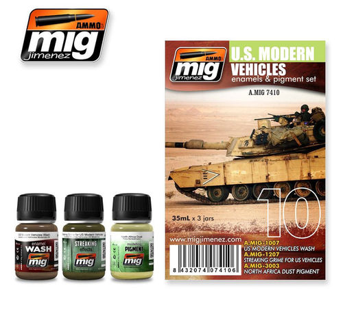 MIG Weathering Set U.S. Modern Vehicles - Modellbau Alterungs Set Schmutz