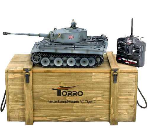 RC Panzer Tiger 1 1:16 Metall-Version BB-Schuss 360° Turm PRO-Edition 2,4 GHz Torro Holzkiste