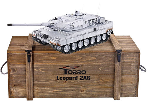 RC Panzer Leopard 2A6 1:16 Metall-Version BB-Schuss 360° Turm PRO-Edition 2,4 GHz Torro Wintertarn
