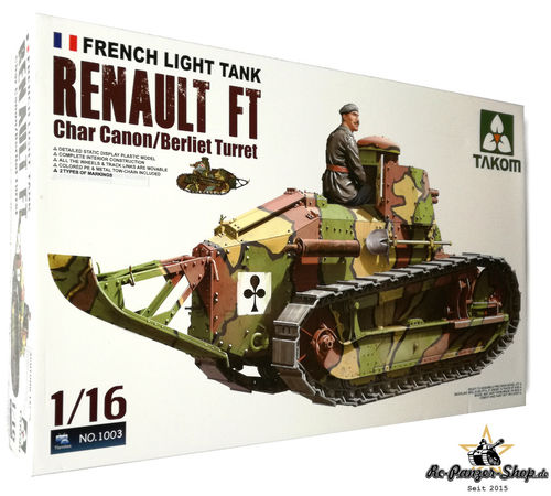 French Light Tank Renault FT-17 [Berliet turret] Panzer Bausatz, Maßstab 1:16, Takom