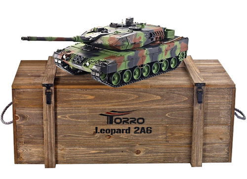 RC Panzer Leopard 2A6 1:16 Metall-Version IR-Version 360° Turm PRO-Edition 2,4 GHz Torro NATO