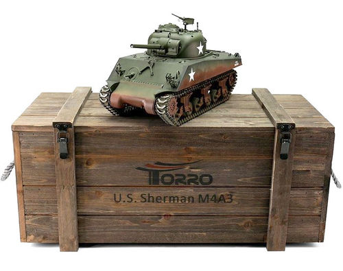 RC Panzer M4A3 Sherman 75mm 1:16 Metall-Version IR-Version 360° Turm PRO-Edition 2,4 GHz Torro