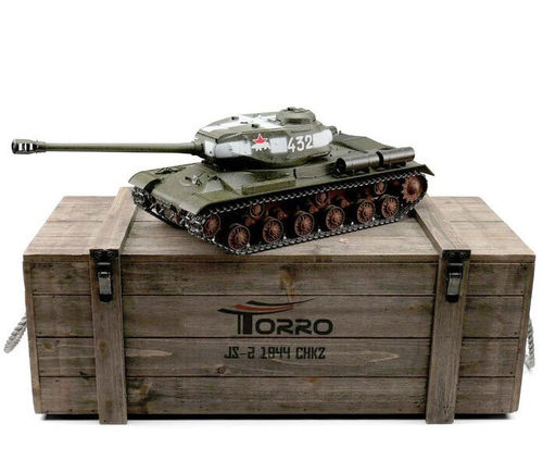 RC Panzer russischer IS-2 1:16 Metall-Version IR RRZ 360° Turm PRO-Edition 2,4 GHz Torro grün