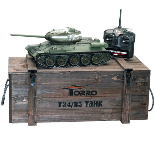 RC Panzer russischer T34-85 1:16 Metall-Version IR 360° Turm PRO-Edition 2,4 GHz Torro